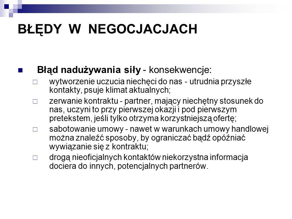 BŁĘDY W NEGOCJACJACH Błąd nadużywania siły - konsekwencje: