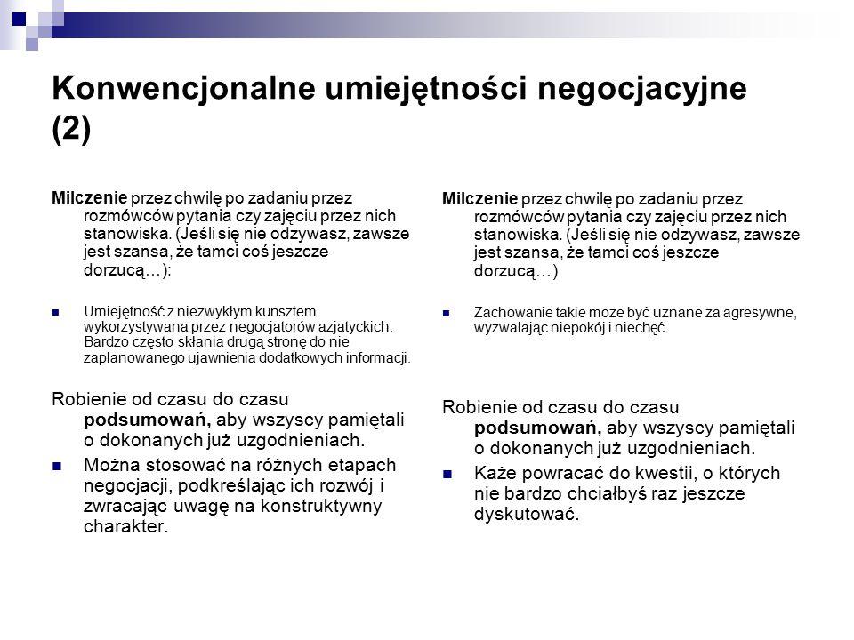 Konwencjonalne umiejętności negocjacyjne (2)