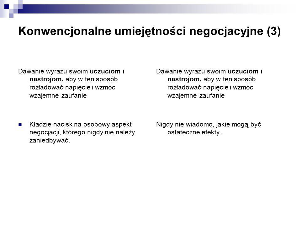 Konwencjonalne umiejętności negocjacyjne (3)