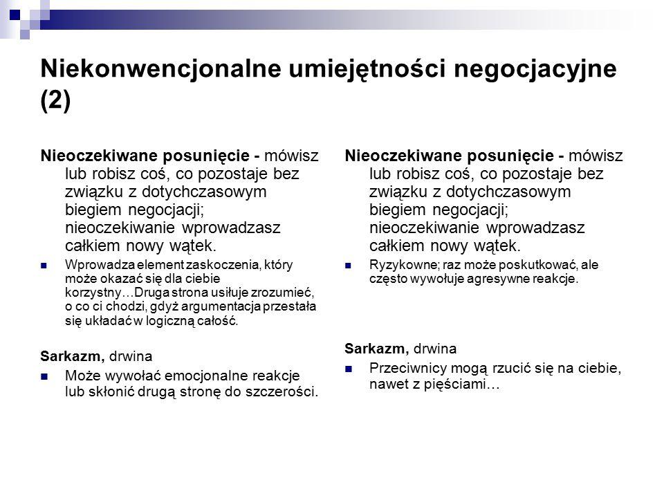 Niekonwencjonalne umiejętności negocjacyjne (2)
