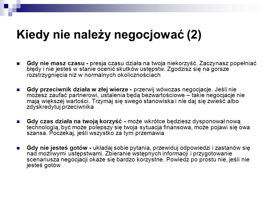 Kiedy nie należy negocjować (2)