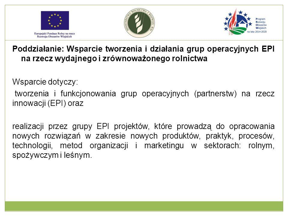 Poddziałanie: Wsparcie tworzenia i działania grup operacyjnych EPI na rzecz wydajnego i zrównoważonego rolnictwa Wsparcie dotyczy: tworzenia i funkcjonowania grup operacyjnych (partnerstw) na rzecz innowacji (EPI) oraz realizacji przez grupy EPI projektów, które prowadzą do opracowania nowych rozwiązań w zakresie nowych produktów, praktyk, procesów, technologii, metod organizacji i marketingu w sektorach: rolnym, spożywczym i leśnym.