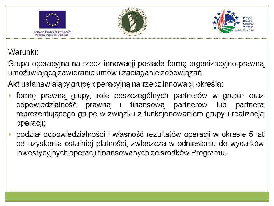 Warunki: Grupa operacyjna na rzecz innowacji posiada formę organizacyjno-prawną umożliwiającą zawieranie umów i zaciąganie zobowiązań.