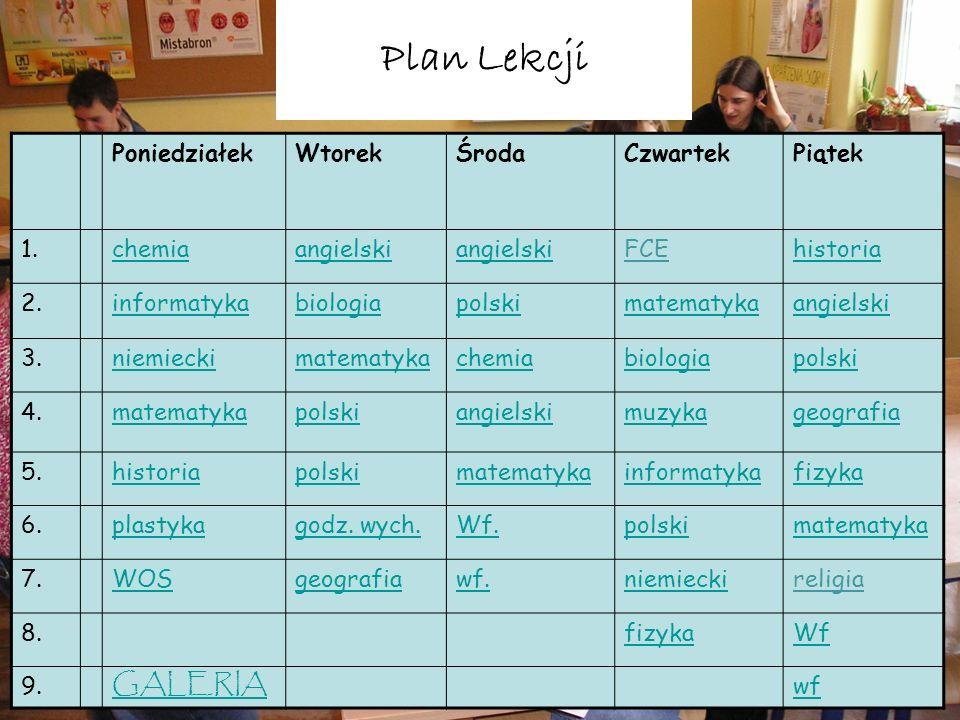 Plan Lekcji GALERIA Poniedziałek Wtorek Środa Czwartek Piątek 1.