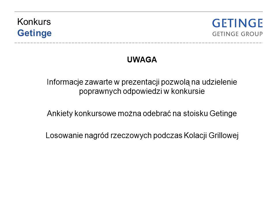 Konkurs Getinge UWAGA. Informacje zawarte w prezentacji pozwolą na udzielenie poprawnych odpowiedzi w konkursie.