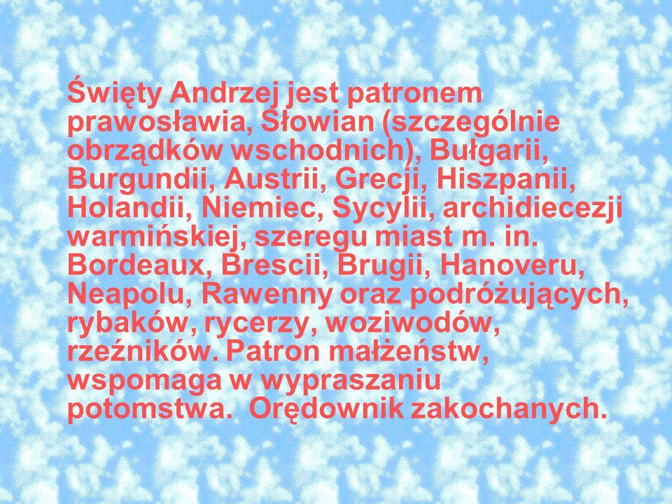 Święty Andrzej jest patronem prawosławia, Słowian (szczególnie obrządków wschodnich), Bułgarii, Burgundii, Austrii, Grecji, Hiszpanii, Holandii, Niemiec, Sycylii, archidiecezji warmińskiej, szeregu miast m. in. Bordeaux, Brescii, Brugii, Hanoveru, Neapolu, Rawenny oraz podróżujących, rybaków, rycerzy, woziwodów, rzeźników. Patron małżeństw, wspomaga w wypraszaniu potomstwa. Orędownik zakochanych.