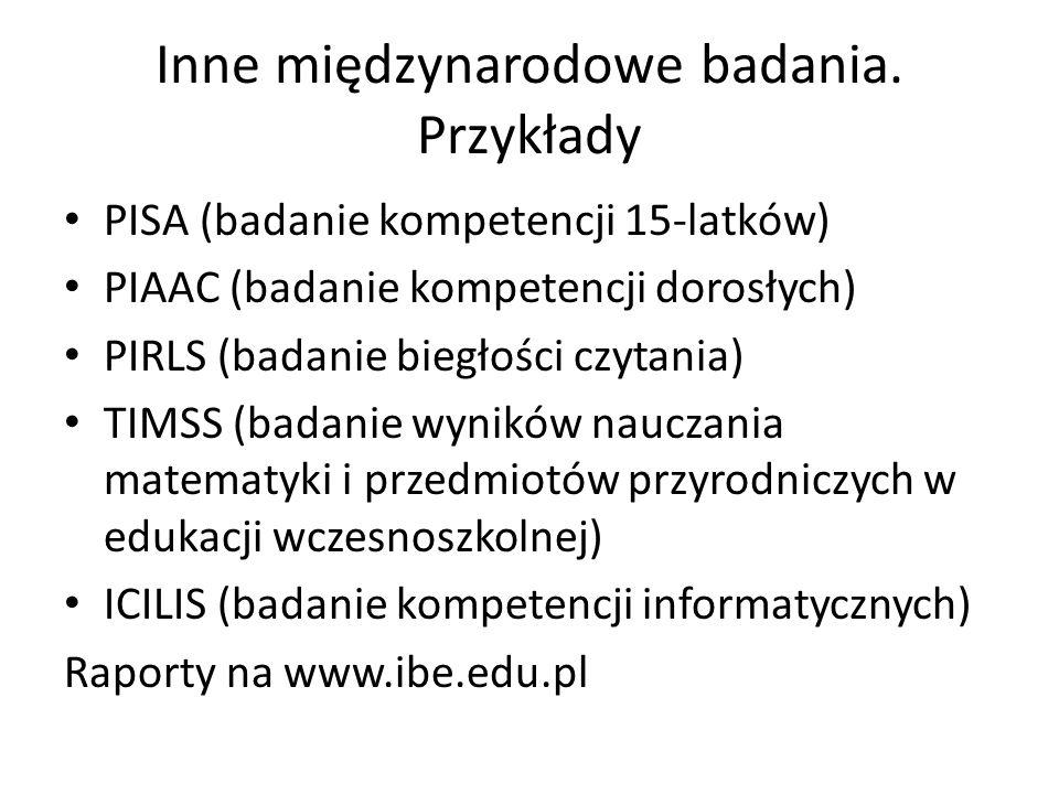 Inne międzynarodowe badania. Przykłady