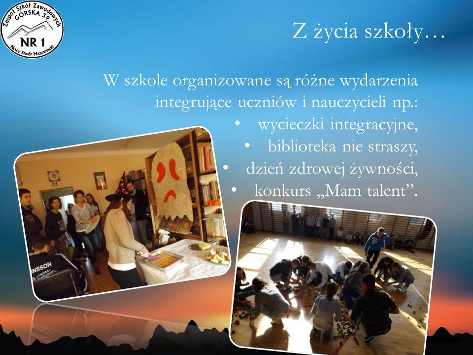 Z życia szkoły… W szkole organizowane są różne wydarzenia integrujące uczniów i nauczycieli np.: wycieczki integracyjne,