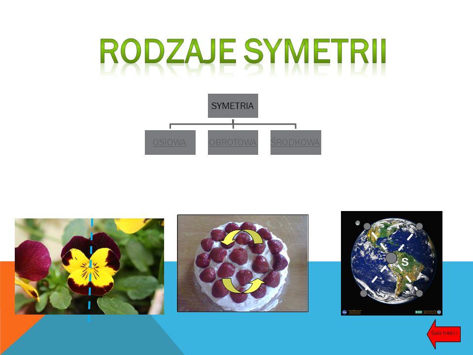 Rodzaje symetrii SYMETRIA OSIOWA OBROTOWA ŚRODKOWA S Spis treści