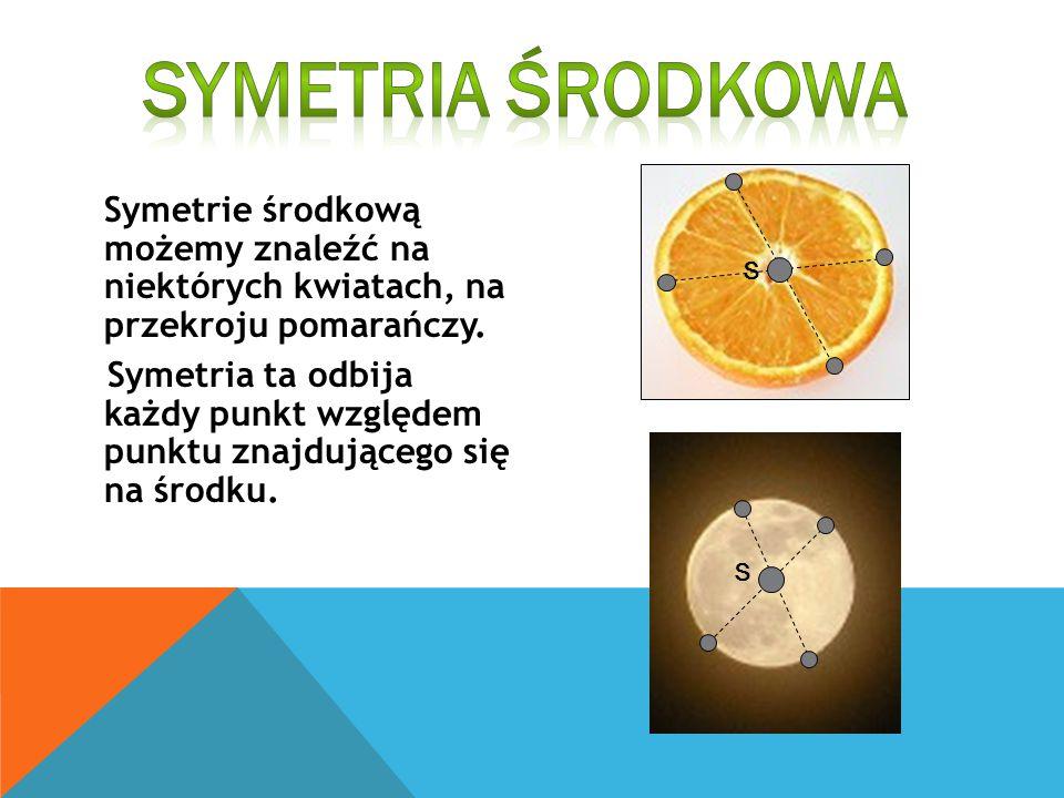 Symetria Środkowa Symetrie środkową możemy znaleźć na niektórych kwiatach, na przekroju pomarańczy.