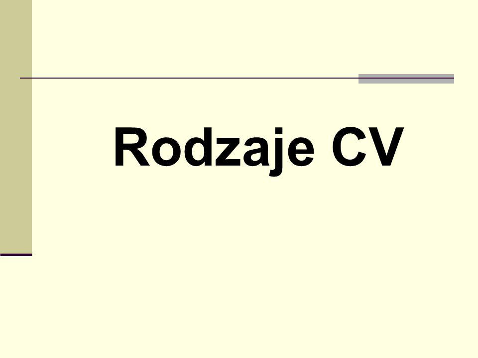 Rodzaje CV