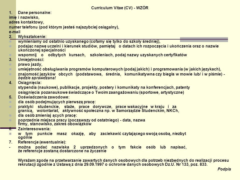 Curriculum Vitae (CV) - WZÓR
