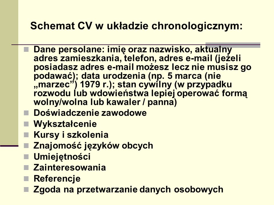 Schemat CV w układzie chronologicznym: