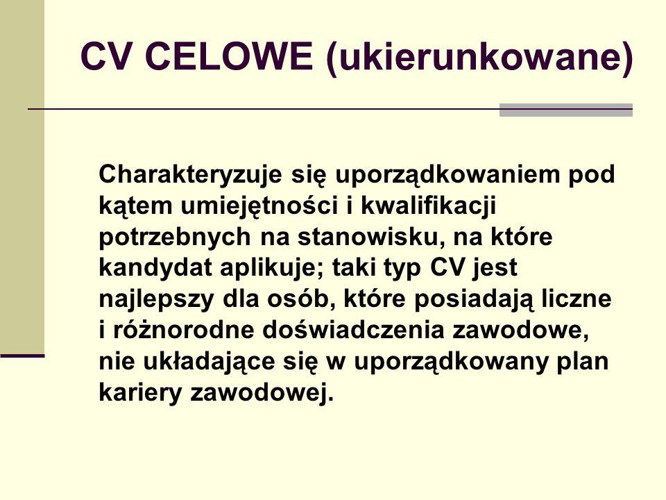 CV CELOWE (ukierunkowane)