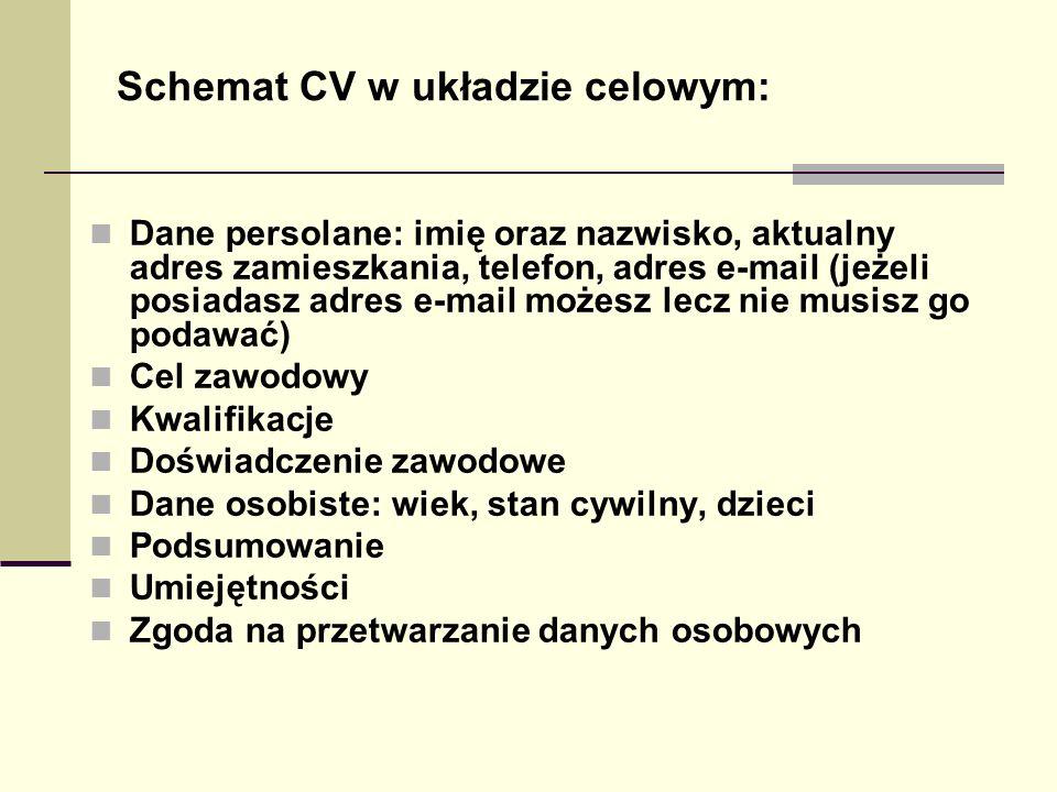 Schemat CV w układzie celowym: