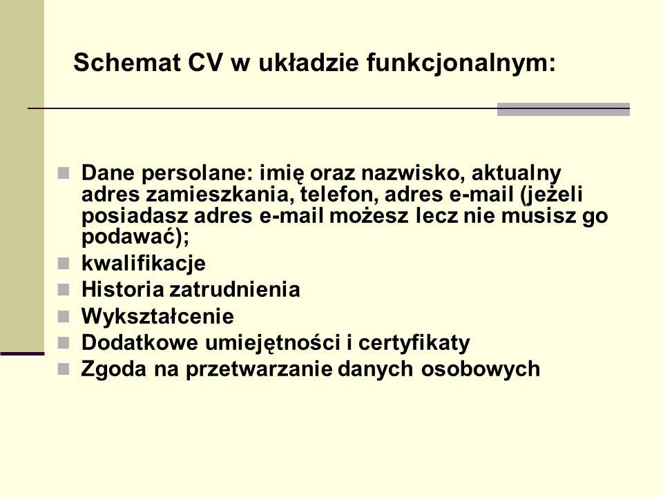 Schemat CV w układzie funkcjonalnym: