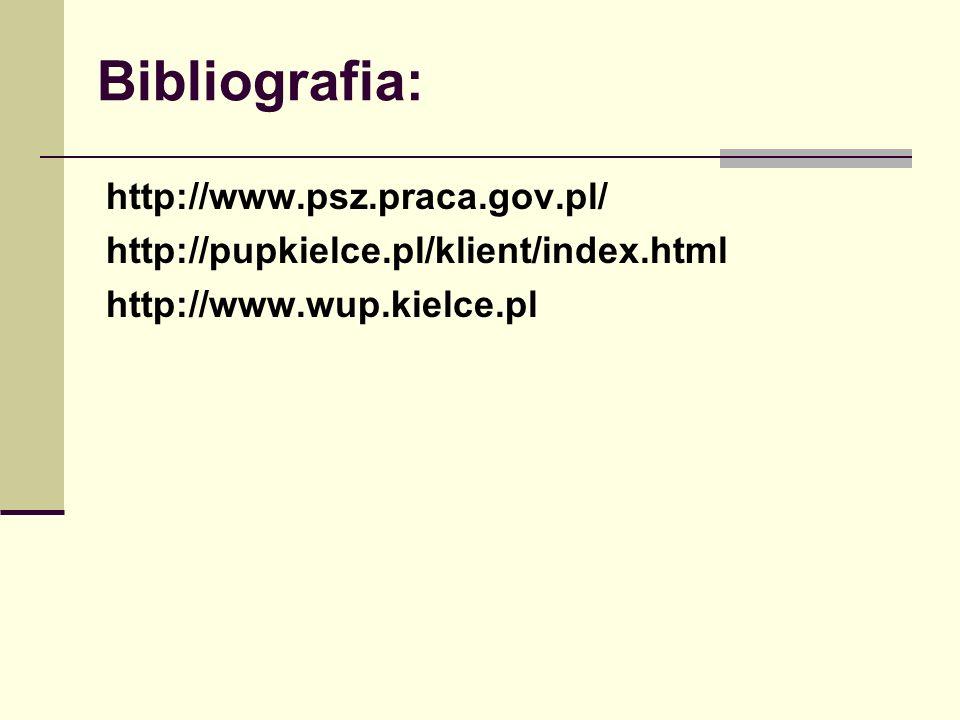 Bibliografia: http://www.psz.praca.gov.pl/