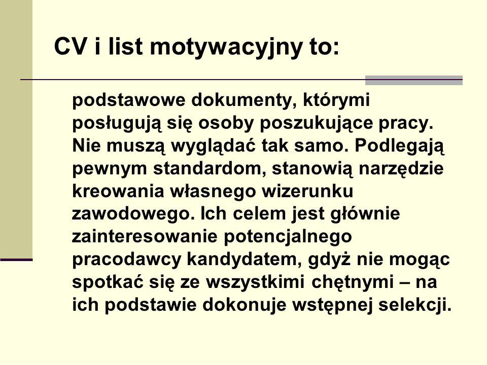 CV i list motywacyjny to: