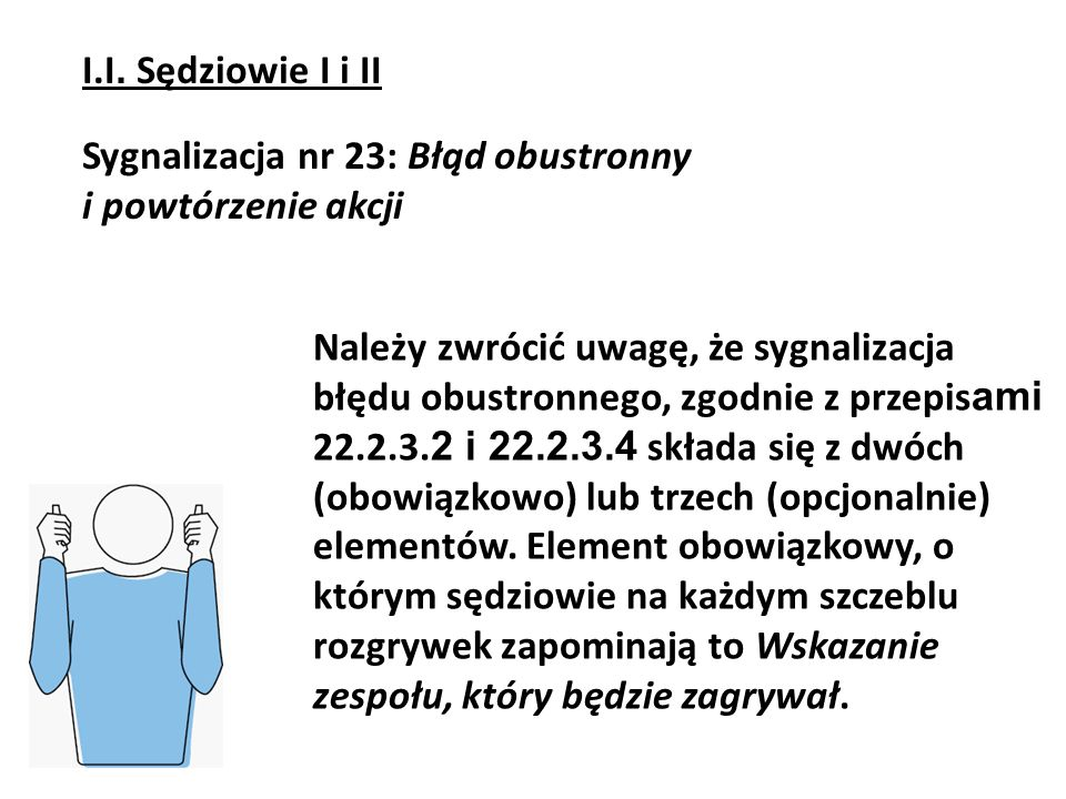 I.I. Sędziowie I i IISygnalizacja nr 23: Błąd obustronny. i powtórzenie akcji.