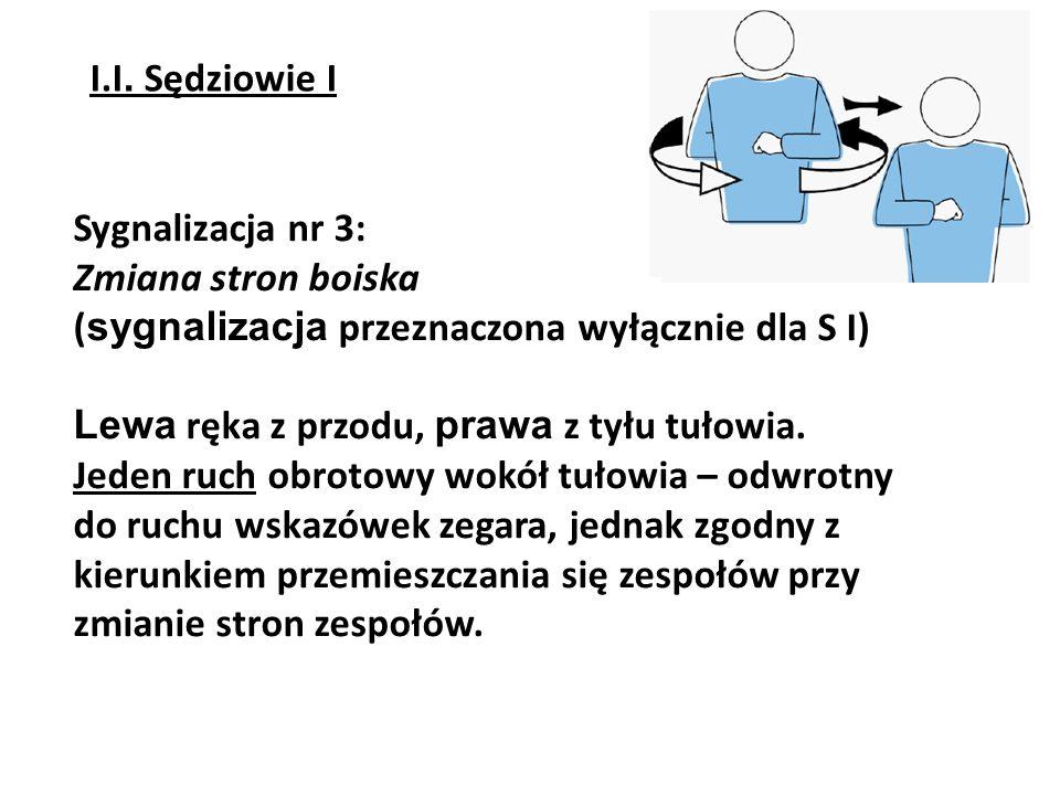 I.I. Sędziowie I Sygnalizacja nr 3: Zmiana stron boiska. (sygnalizacja przeznaczona wyłącznie dla S I)