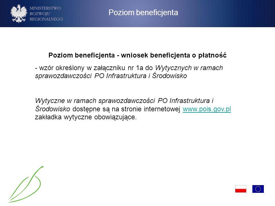 Poziom beneficjenta - wniosek beneficjenta o płatność