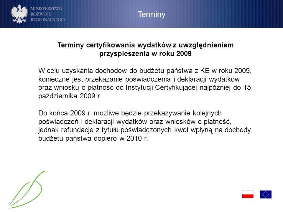 Terminy Terminy certyfikowania wydatków z uwzględnieniem przyspieszenia w roku 2009.