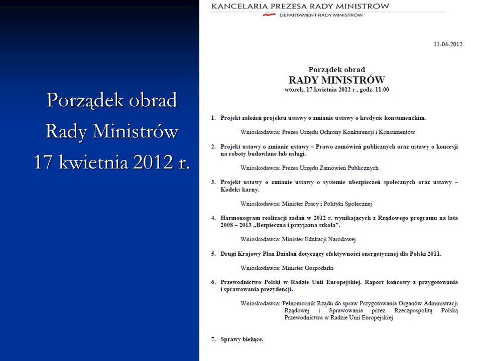 Porządek obrad Rady Ministrów 17 kwietnia 2012 r.