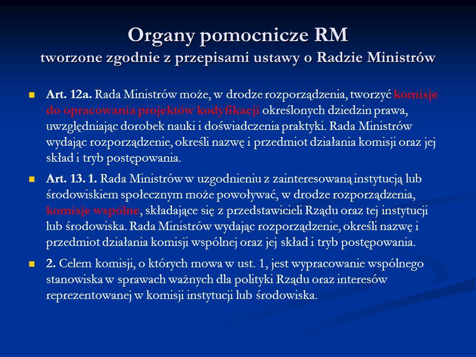 Organy pomocnicze RM tworzone zgodnie z przepisami ustawy o Radzie Ministrów