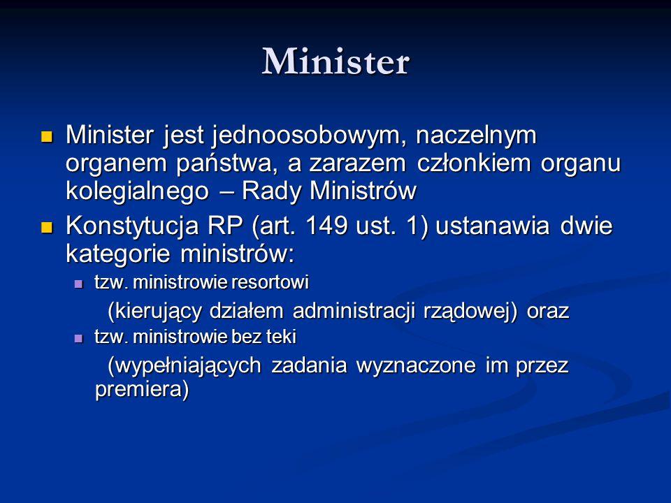 Minister Minister jest jednoosobowym, naczelnym organem państwa, a zarazem członkiem organu kolegialnego – Rady Ministrów.