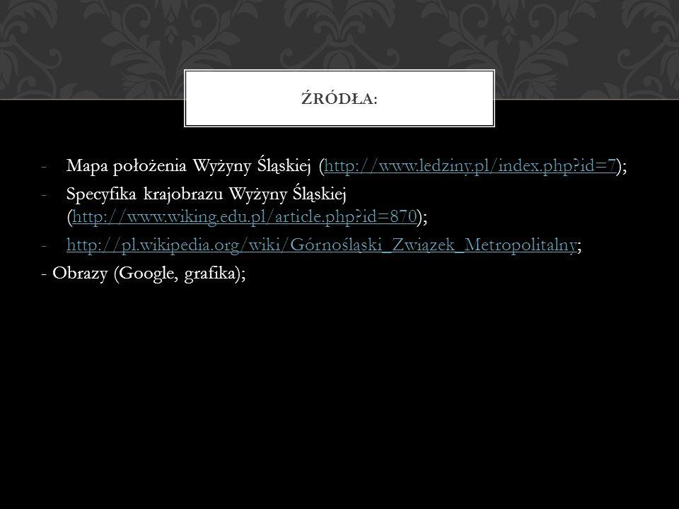 Mapa położenia Wyżyny Śląskiej (http://www.ledziny.pl/index.php id=7);