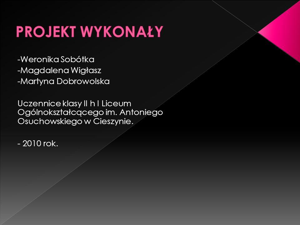 PROJEKT WYKONAŁY -Weronika Sobótka -Magdalena Wigłasz