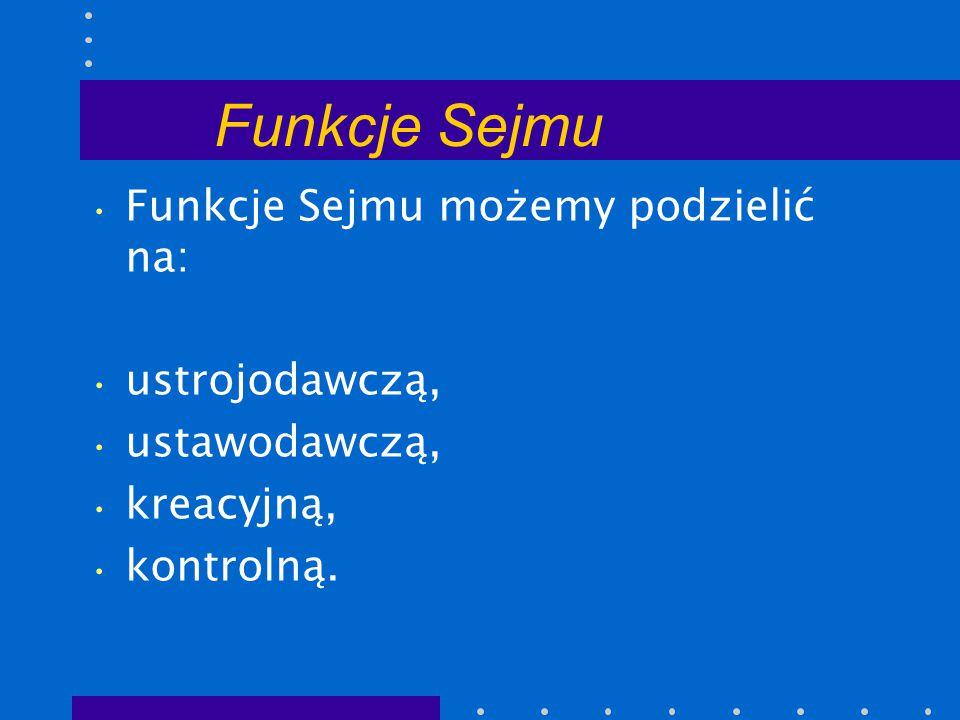 Funkcje Sejmu Funkcje Sejmu możemy podzielić na: ustrojodawczą,