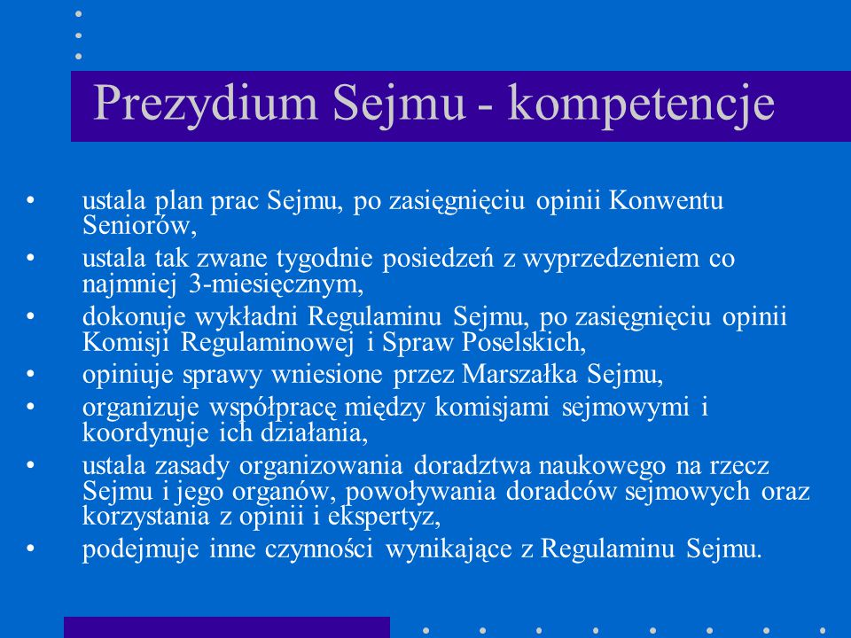 Prezydium Sejmu - kompetencje