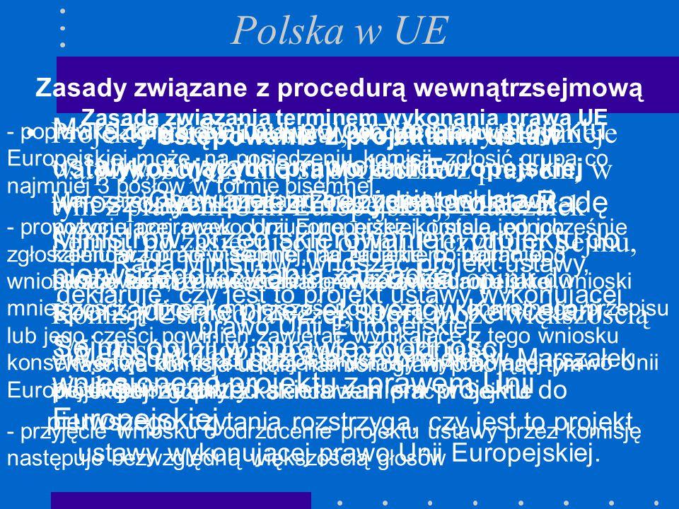 Polska w UE Zasady związane z procedurą wewnątrzsejmową.