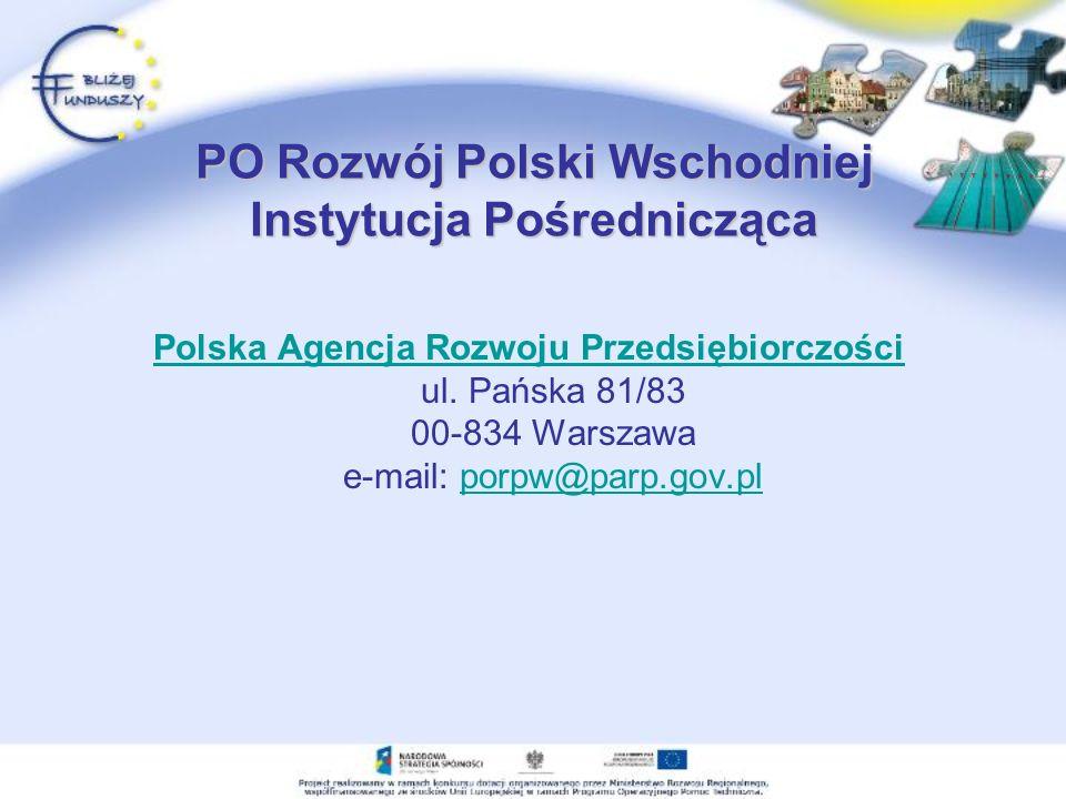 PO Rozwój Polski Wschodniej Instytucja Pośrednicząca