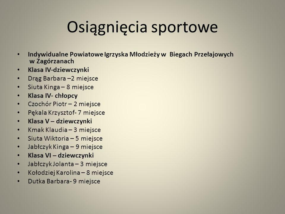 Osiągnięcia sportowe Indywidualne Powiatowe Igrzyska Młodzieży w Biegach Przełajowych w Zagórzanach.