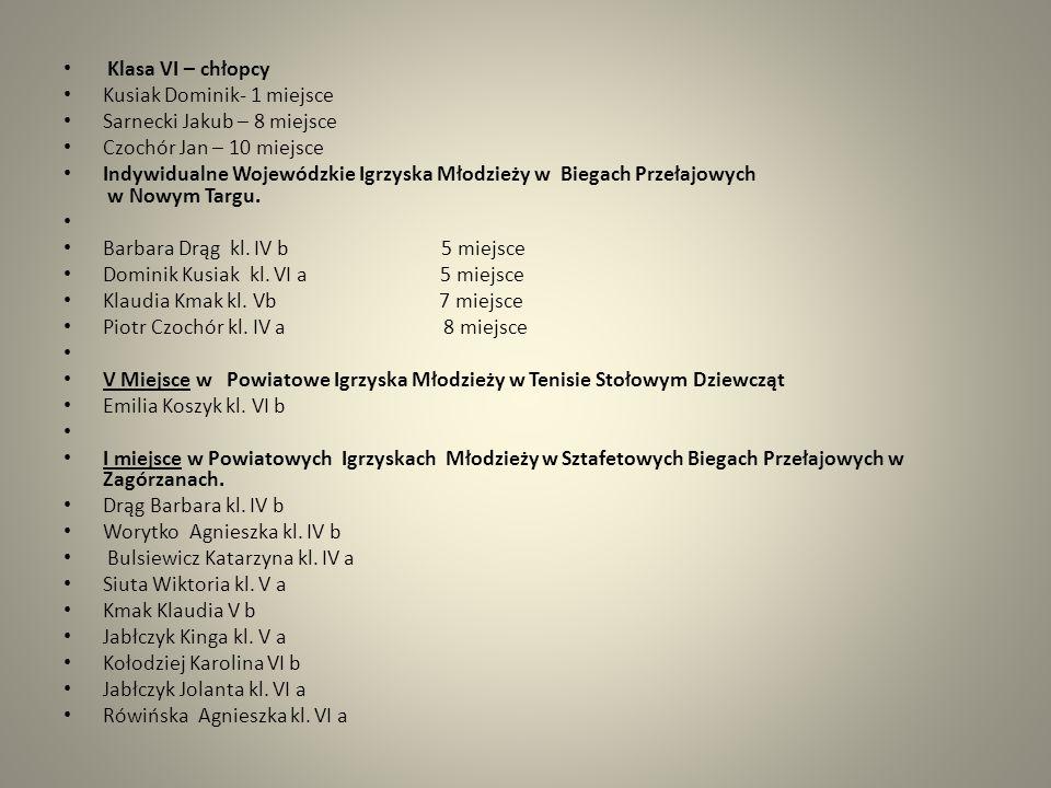 Klasa VI – chłopcy Kusiak Dominik- 1 miejsce. Sarnecki Jakub – 8 miejsce. Czochór Jan – 10 miejsce.
