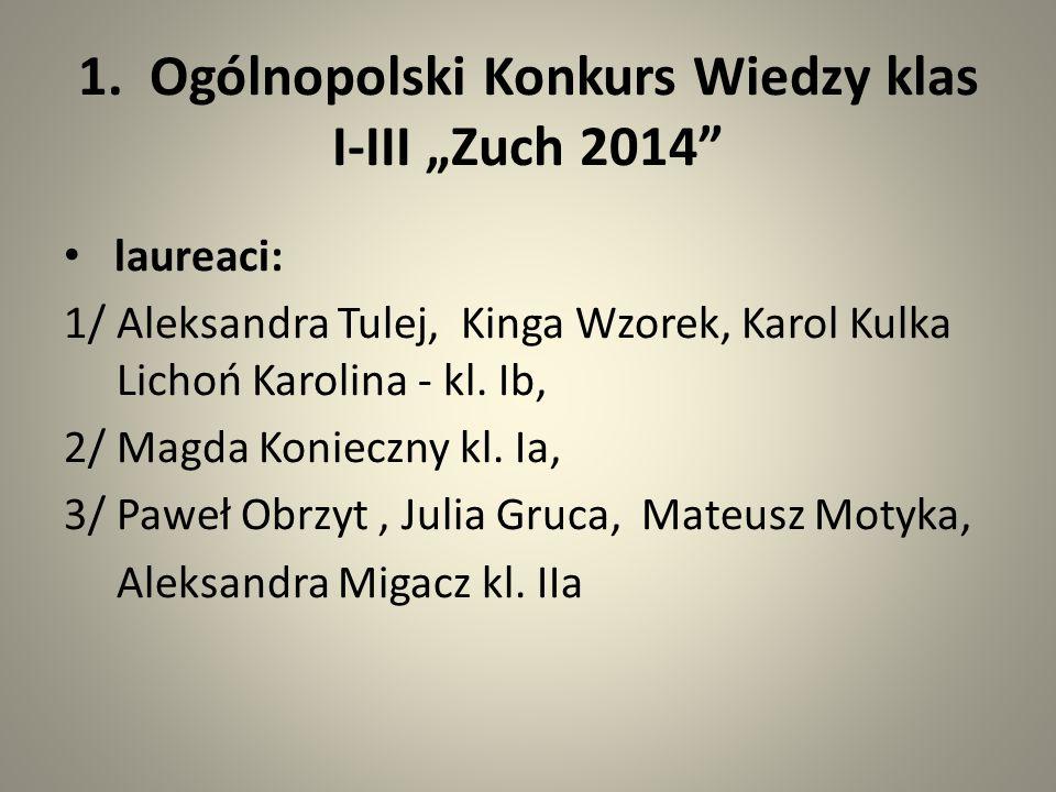 """1. Ogólnopolski Konkurs Wiedzy klas I-III """"Zuch 2014"""