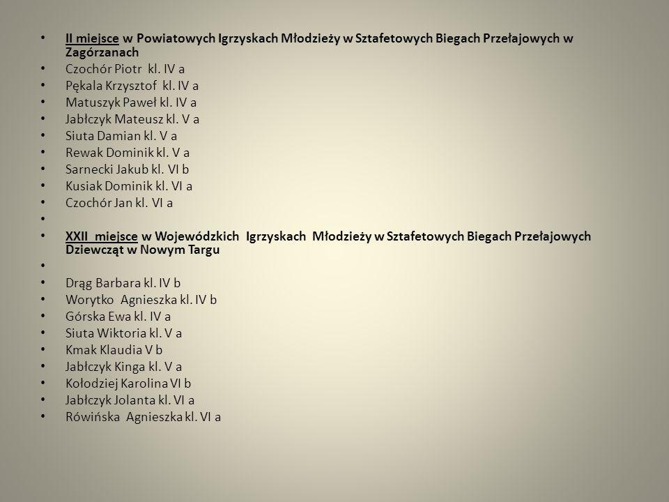 II miejsce w Powiatowych Igrzyskach Młodzieży w Sztafetowych Biegach Przełajowych w Zagórzanach