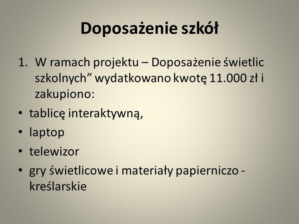 Doposażenie szkół W ramach projektu – Doposażenie świetlic szkolnych wydatkowano kwotę 11.000 zł i zakupiono: