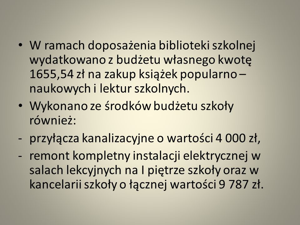 W ramach doposażenia biblioteki szkolnej wydatkowano z budżetu własnego kwotę 1655,54 zł na zakup książek popularno – naukowych i lektur szkolnych.