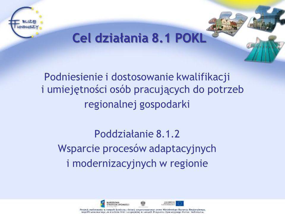Cel działania 8.1 POKL Podniesienie i dostosowanie kwalifikacji i umiejętności osób pracujących do potrzeb.