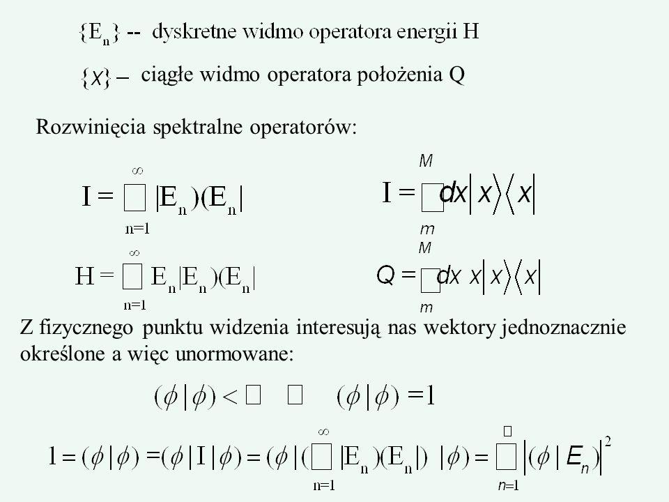 ciągłe widmo operatora położenia Q