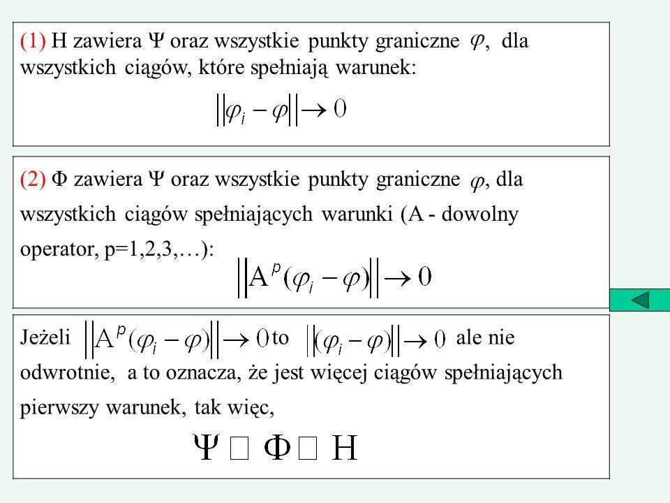 (1) H zawiera Ψ oraz wszystkie punkty graniczne , dla wszystkich ciągów, które spełniają warunek: