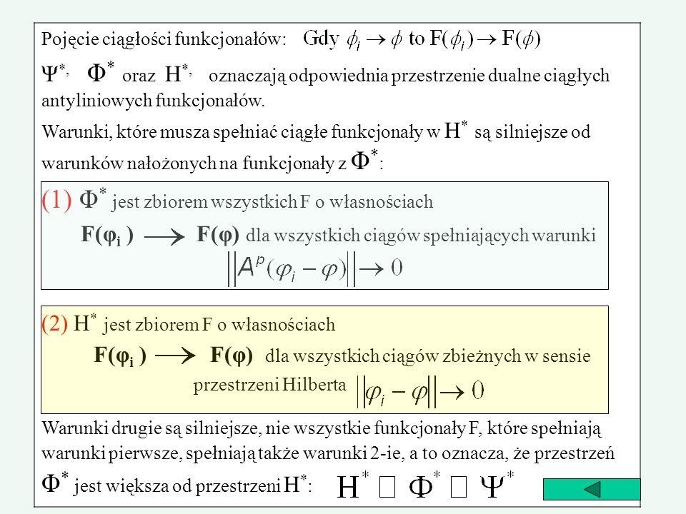 (1) Φ* jest zbiorem wszystkich F o własnościach
