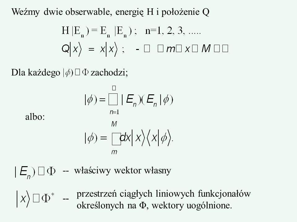 Weźmy dwie obserwable, energię H i położenie Q