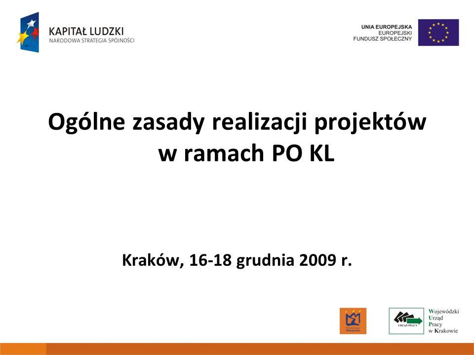 Ogólne zasady realizacji projektów w ramach PO KL