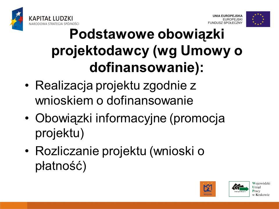 Podstawowe obowiązki projektodawcy (wg Umowy o dofinansowanie):