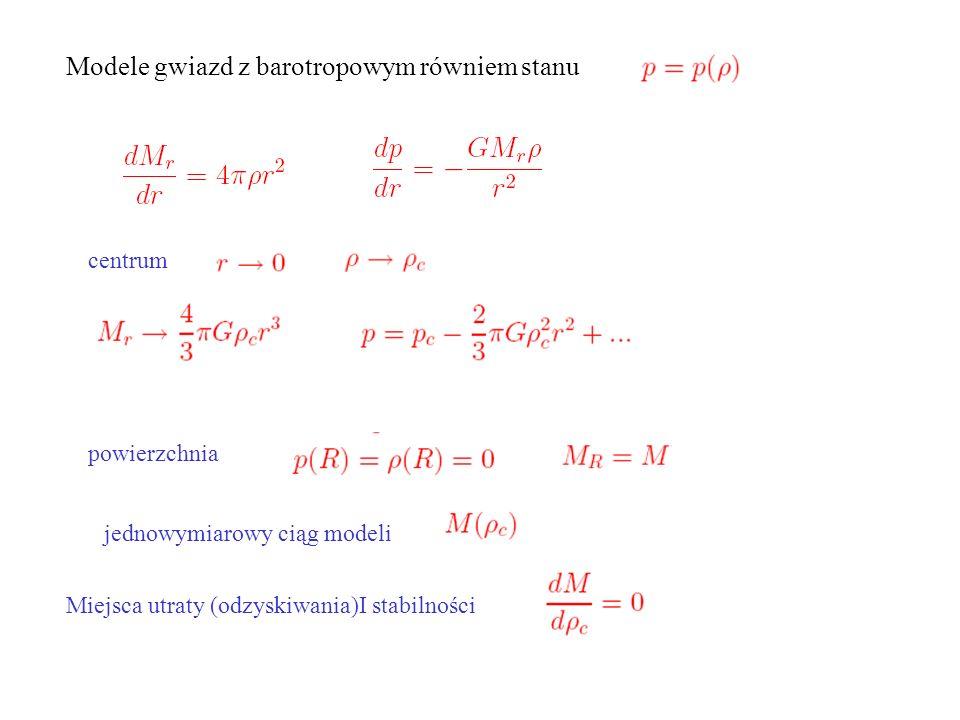 Modele gwiazd z barotropowym równiem stanu