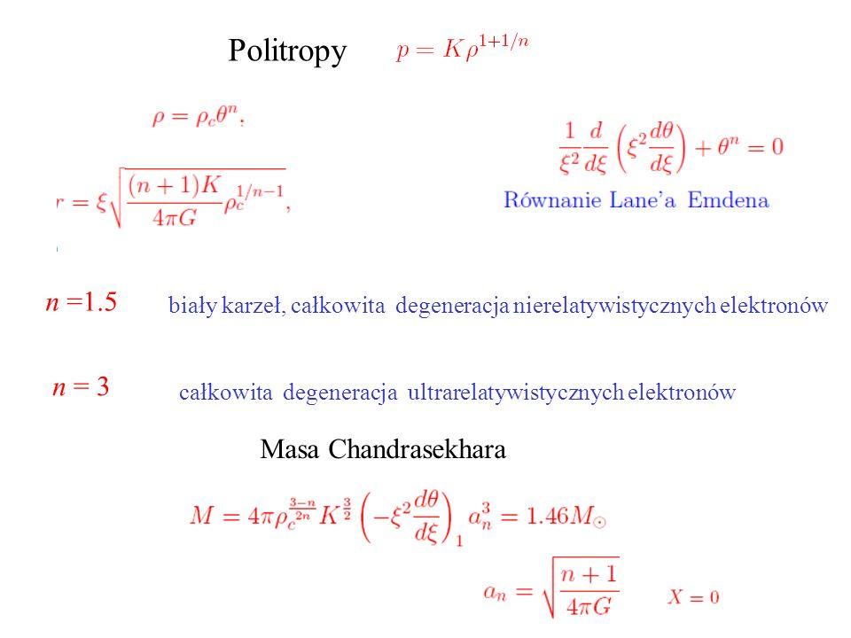 Politropy n =1.5 n = 3 Masa Chandrasekhara
